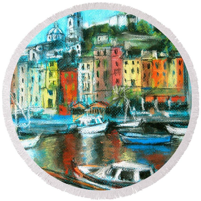 Portovenere Round Beach Towel featuring the painting Portovenere by Mona Edulesco