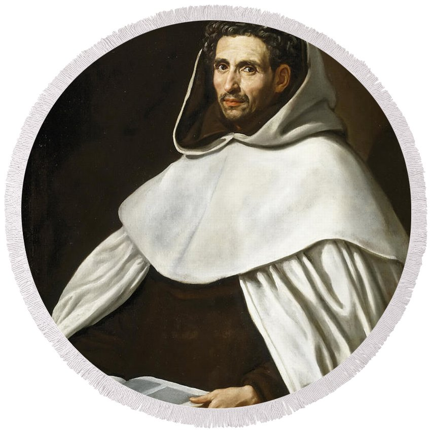 Luis Tristan De Escamilla Round Beach Towel featuring the painting Portrait Of A Carmelite by Luis Tristan de Escamilla