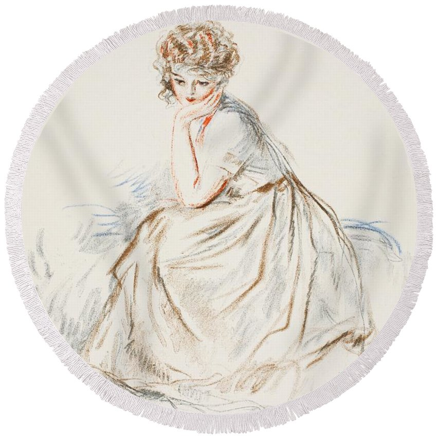 Round Beach Towel featuring the painting Portrait Of A Girl by French School