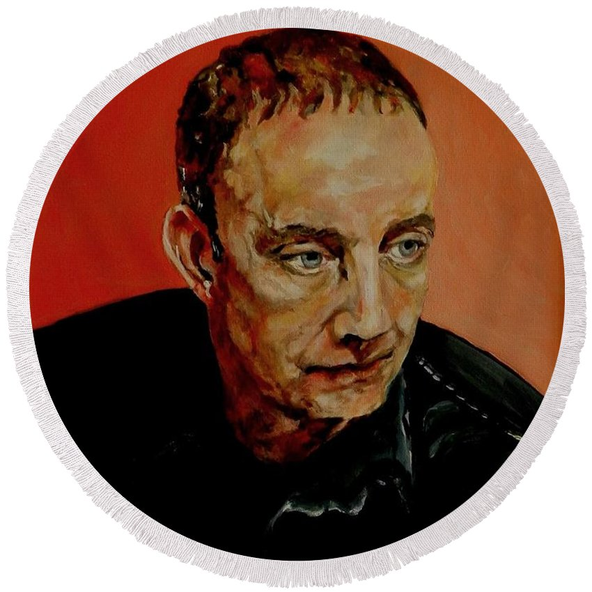 Portrait Round Beach Towel featuring the painting Portrait Of A Man by Jolante Hesse