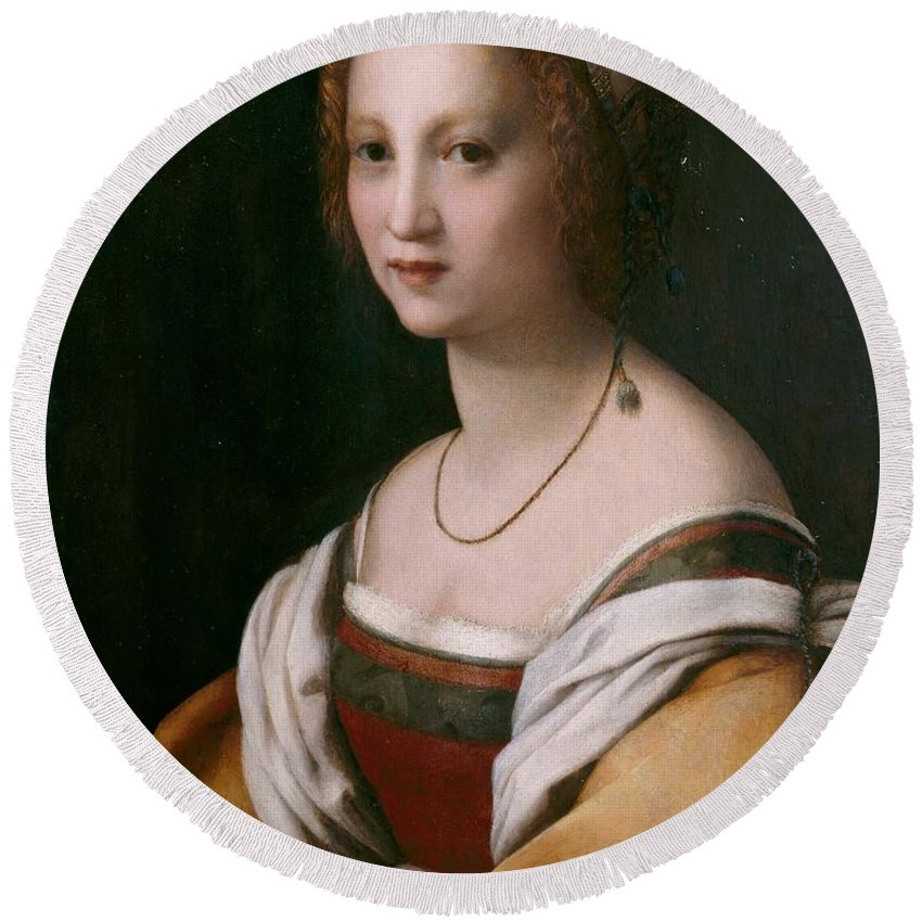1514 Round Beach Towel featuring the painting Portrait Of A Woman by Andrea del Sarto