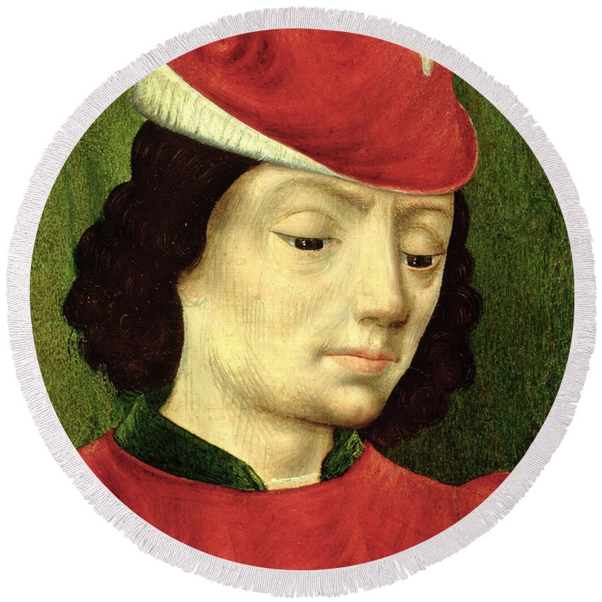 Male Round Beach Towel featuring the painting Portrait Of A Young Man by Master of Moulins