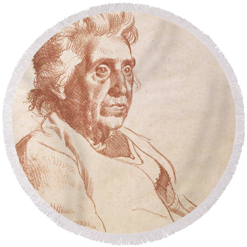 Print Round Beach Towel featuring the drawing Portrait Of An Old Lady, 1938 by Osmund Caine