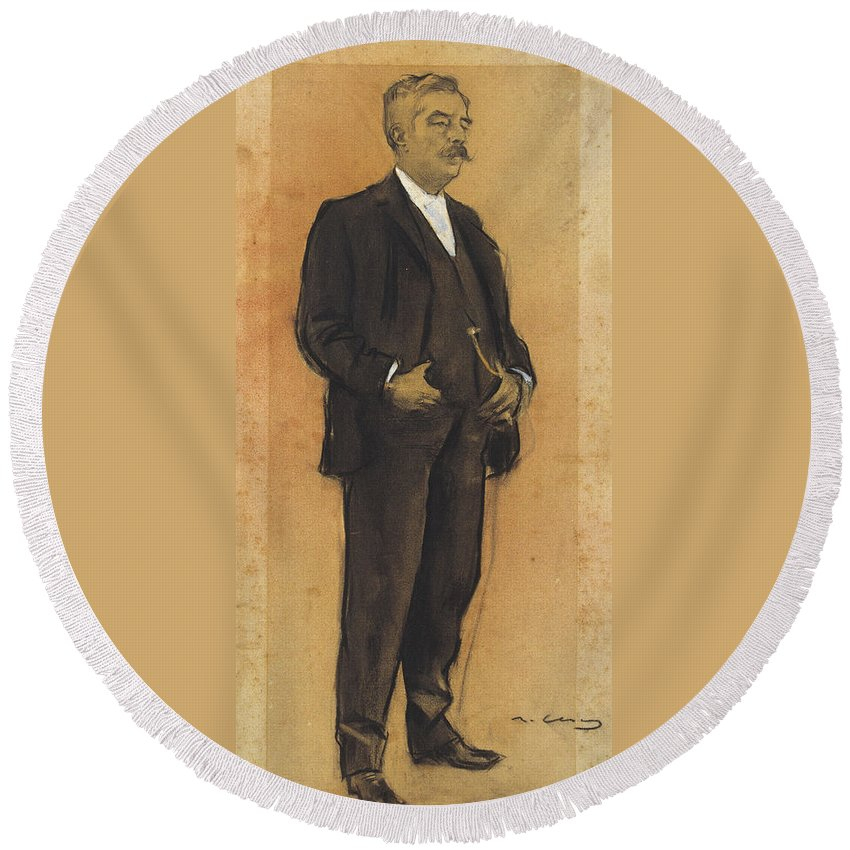 Ramon Casas Round Beach Towel featuring the drawing Portrait Of Arcadi Mas I Fondevila by Ramon Casas