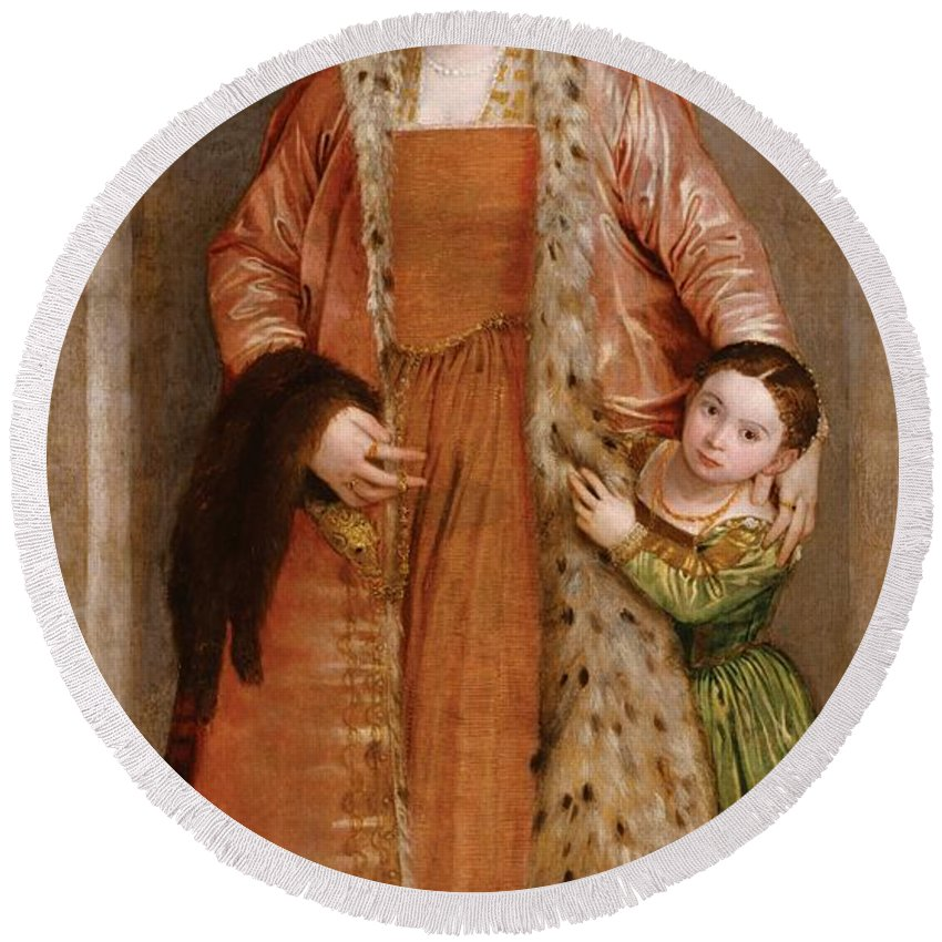 1552 Round Beach Towel featuring the painting Portrait Of Countess Livia Da Porto Thiene And Her Daughter Deidamia by Paolo Veronese