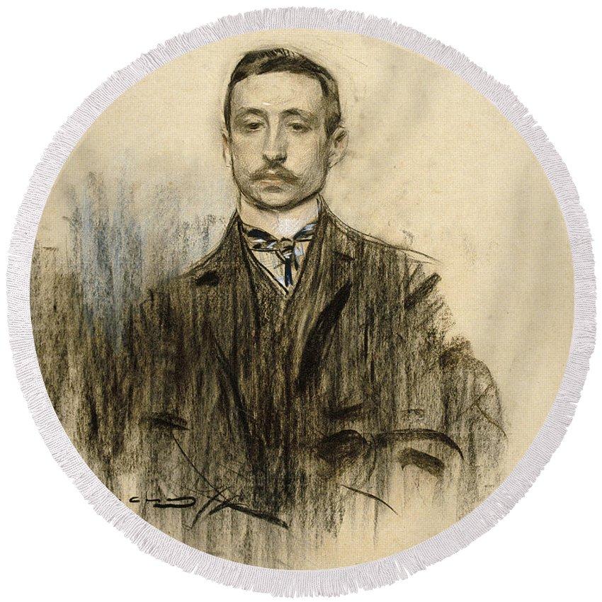 Ramon Casas Round Beach Towel featuring the drawing Portrait Of Eduardo Chicharro by Ramon Casas
