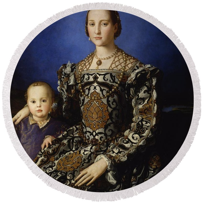 1544-1545 Round Beach Towel featuring the painting Portrait Of Eleanor Of Toledo With Her Son Giovanni De' Medici by Agnolo Bronzino