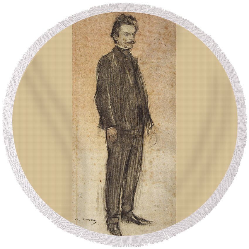 Ramon Casas Round Beach Towel featuring the drawing Portrait Of Enric Morera by Ramon Casas