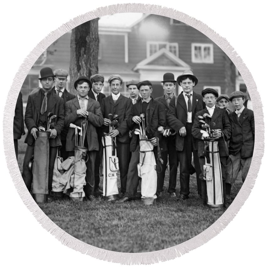 16-20 Years Round Beach Towel featuring the photograph Portrait Of Golf Caddies by Underwood Archives