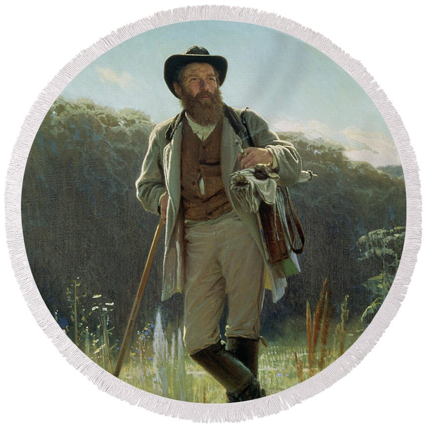 Male Round Beach Towel featuring the painting Portrait Of Ivan Ivanovich Shishkin by Ivan Nikolaevich Kramskoy