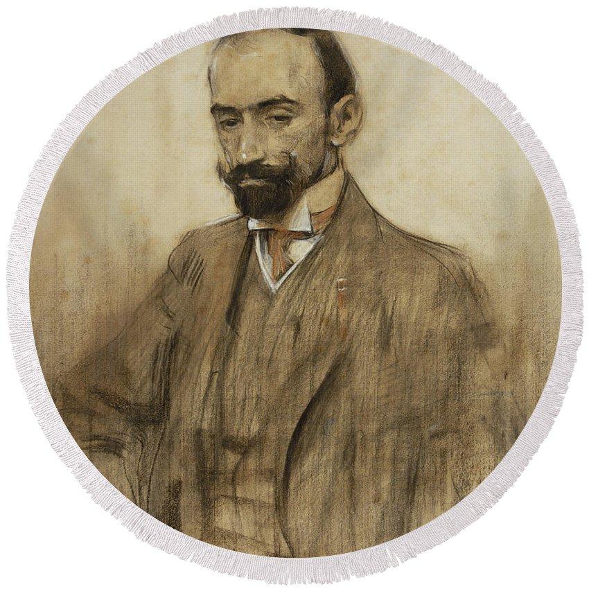 Ramon Casas Round Beach Towel featuring the drawing Portrait Of Jacinto Benavente by Ramon Casas