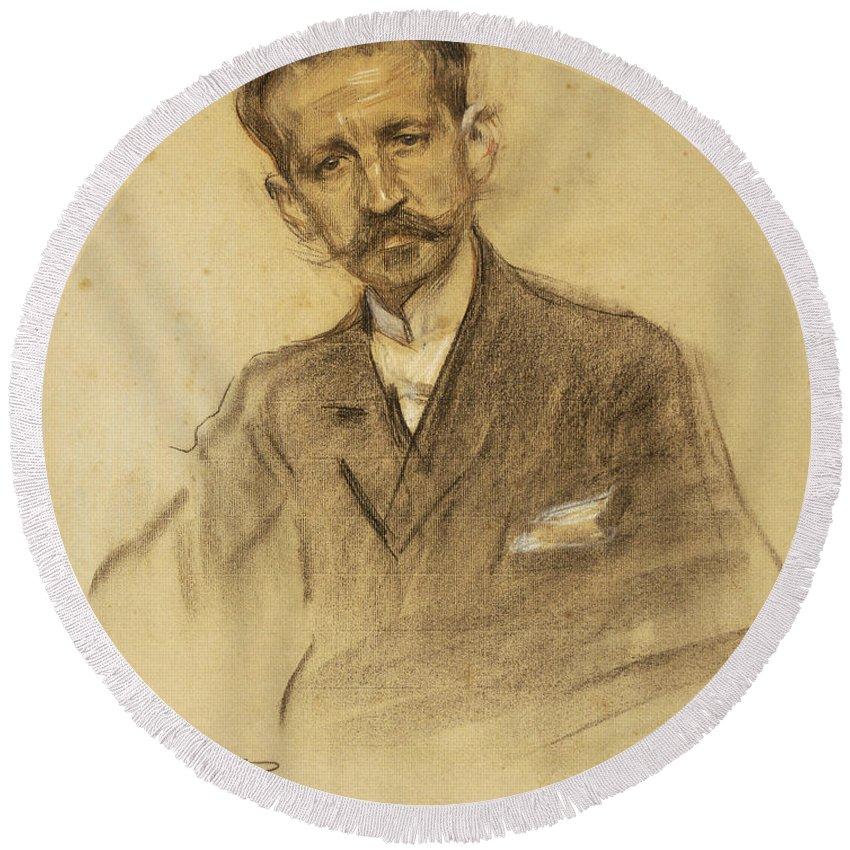 Ramon Casas Round Beach Towel featuring the drawing Portrait Of Jacinto Octavio Picon by Ramon Casas