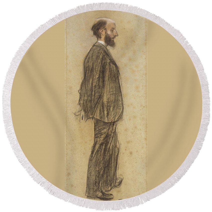 Ramon Casas Round Beach Towel featuring the drawing Portrait Of Joan Gay by Ramon Casas