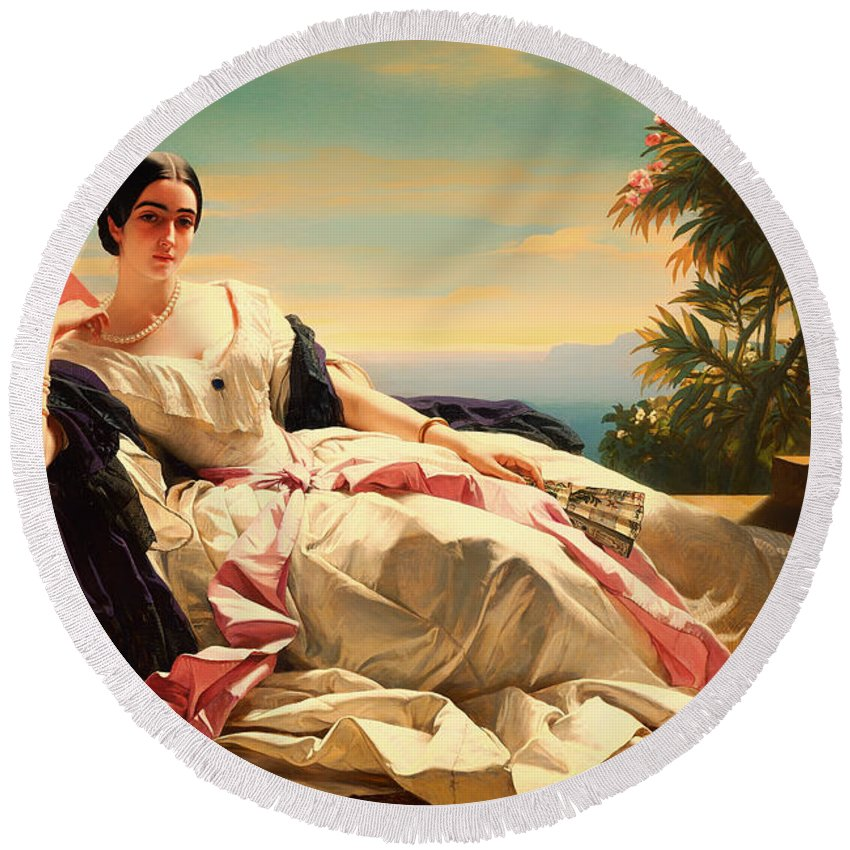 Painting Round Beach Towel featuring the painting Portrait Of Leonilla by Mountain Dreams
