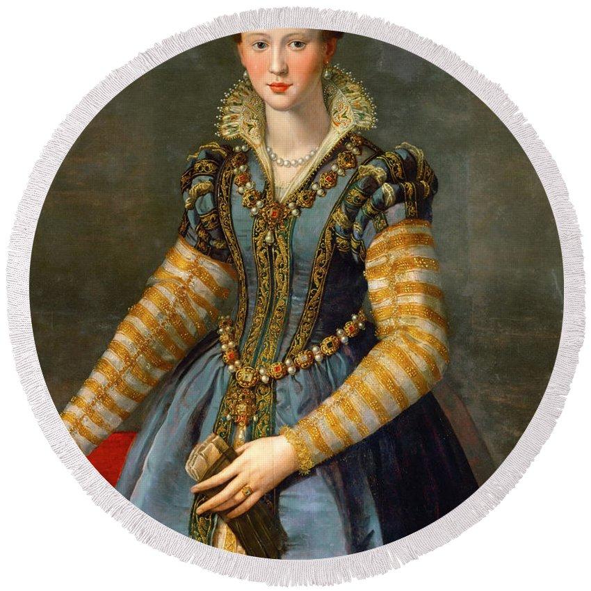Alessandro Allori Round Beach Towel featuring the painting Portrait Of Maria De Medici Or Eleonora Di Garzia Di Toledo by Alessandro Allori