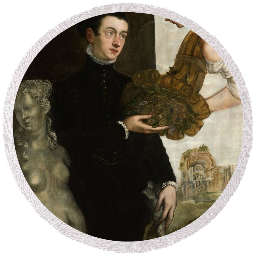 1567 Round Beach Towel featuring the painting Portrait Of Ottavio Strada by Tintoretto