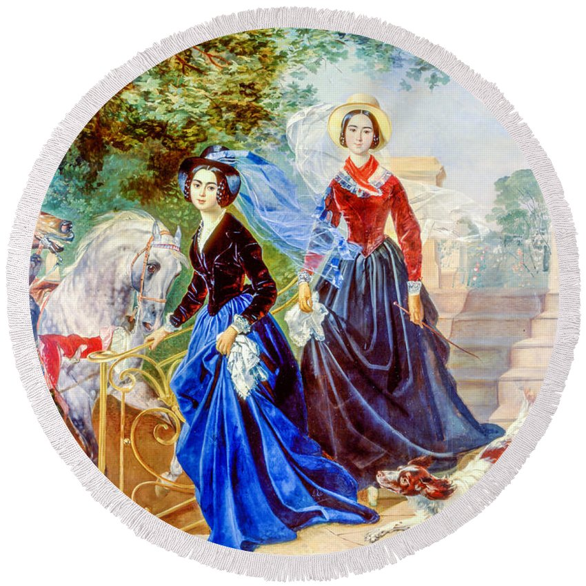 Portrait Round Beach Towel featuring the painting Portrait Of Sisters Shishmarev by Viktor Birkus