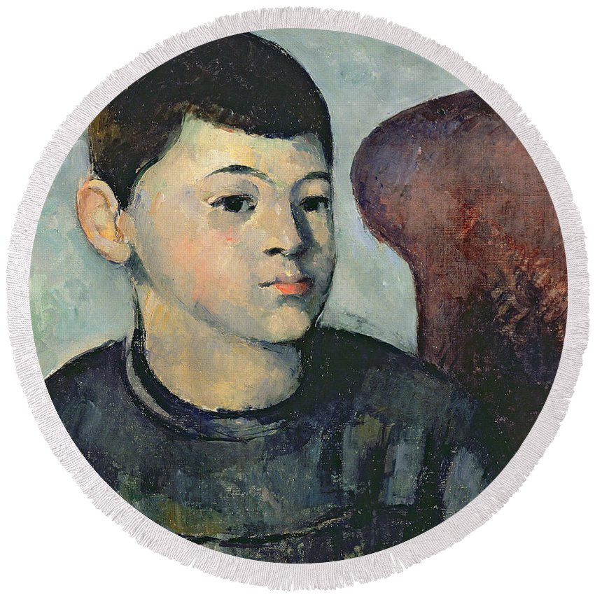 Male Round Beach Towel featuring the painting Portrait Of The Artists Son by Paul Cezanne