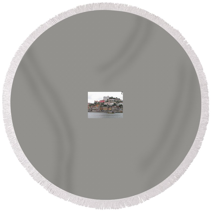 River Scence Round Beach Towel featuring the photograph Portugal by Kimberly Maxwell Grantier