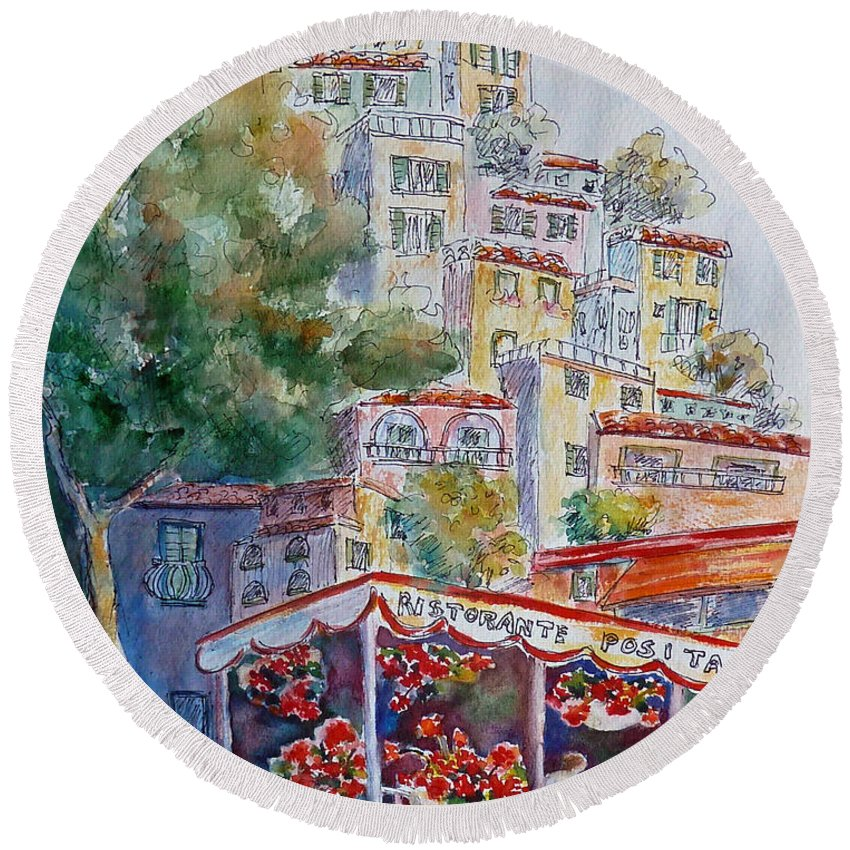 Positano Round Beach Towel featuring the painting Positano Restaurant by Carolyn Jarvis