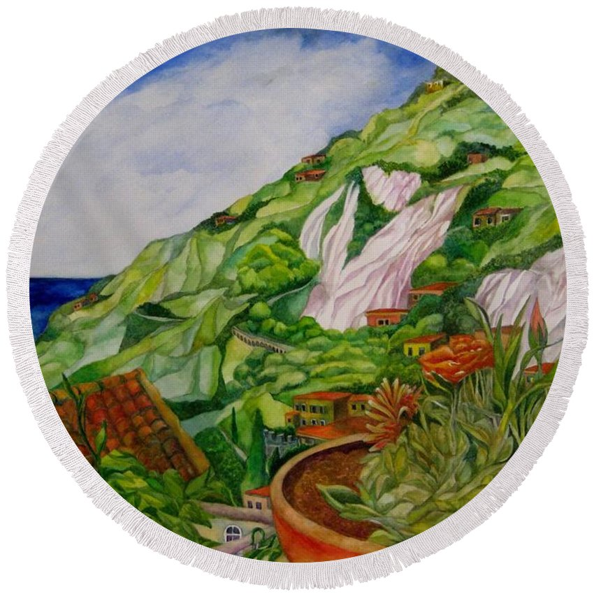 Italy Round Beach Towel featuring the painting Positano Terrace by Kandy Cross