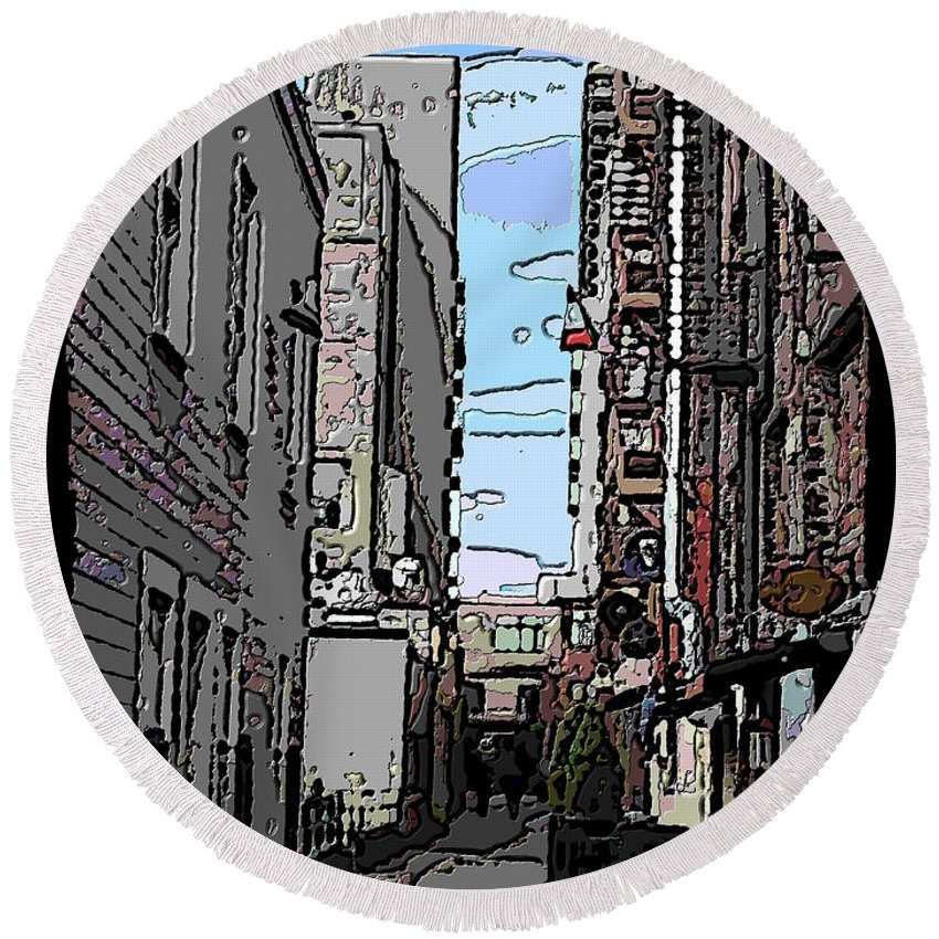Post Alley Round Beach Towel featuring the digital art Post Alley 6 by Tim Allen