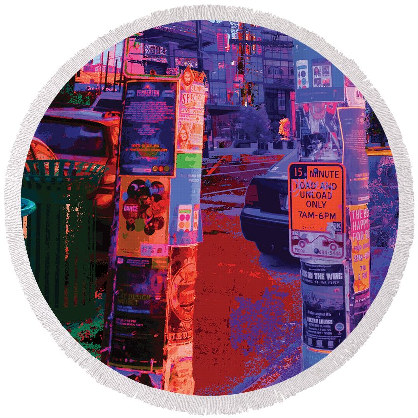 Abstract Round Beach Towel featuring the digital art Post No Bills Panel 2 Of 3 by James Kramer