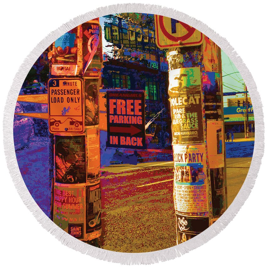 Abstract Round Beach Towel featuring the digital art Post No Bills Panel 3 Of 3 by James Kramer