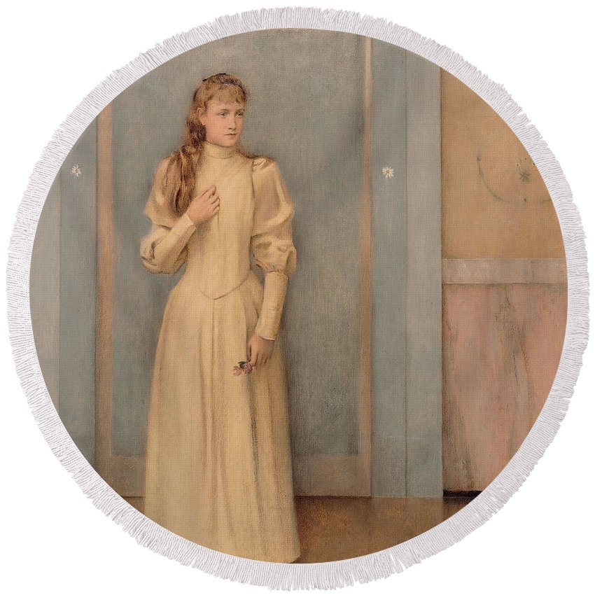 Fernand Round Beach Towel featuring the painting Posthumous Portrait Of Marguerite Landuyt by Fernand Khnopff