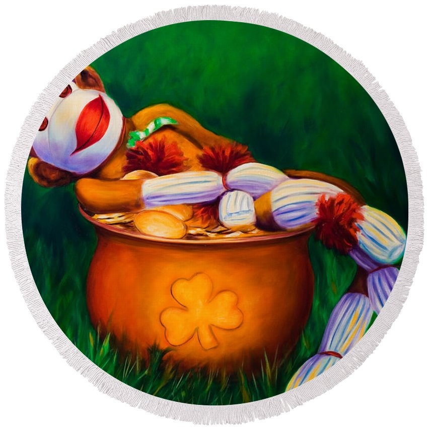 St. Patrick's Day Round Beach Towel featuring the painting Pot O Gold by Shannon Grissom