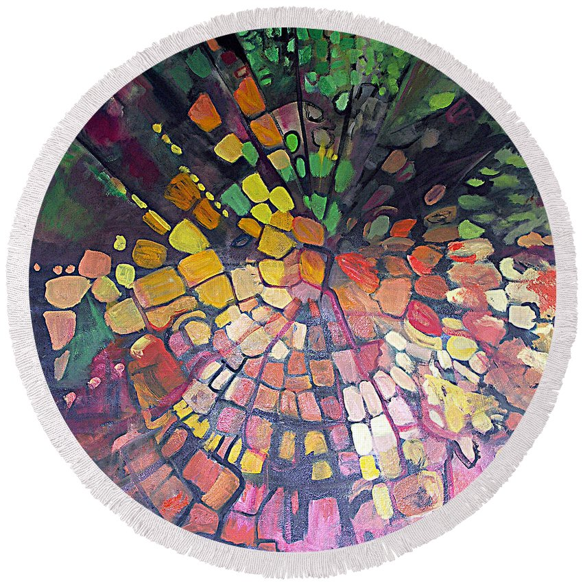 Abstract Round Beach Towel featuring the painting Potent Force by Jen Dacota