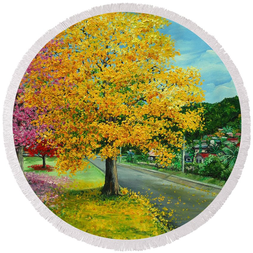 Poui Trees Round Beach Towel featuring the painting Poui In Diego by Karin Dawn Kelshall- Best