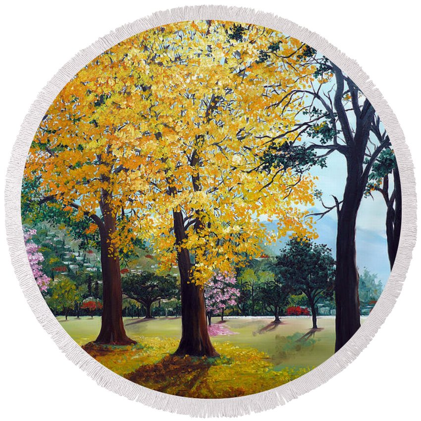Tree Painting Landscape Painting Caribbean Painting Poui Tree Yellow Blossoms Trinidad Queens Park Savannah Port Of Spain Trinidad And Tobago Painting Savannah Tropical Painting Round Beach Towel featuring the painting Poui Trees In The Savannah by Karin Dawn Kelshall- Best