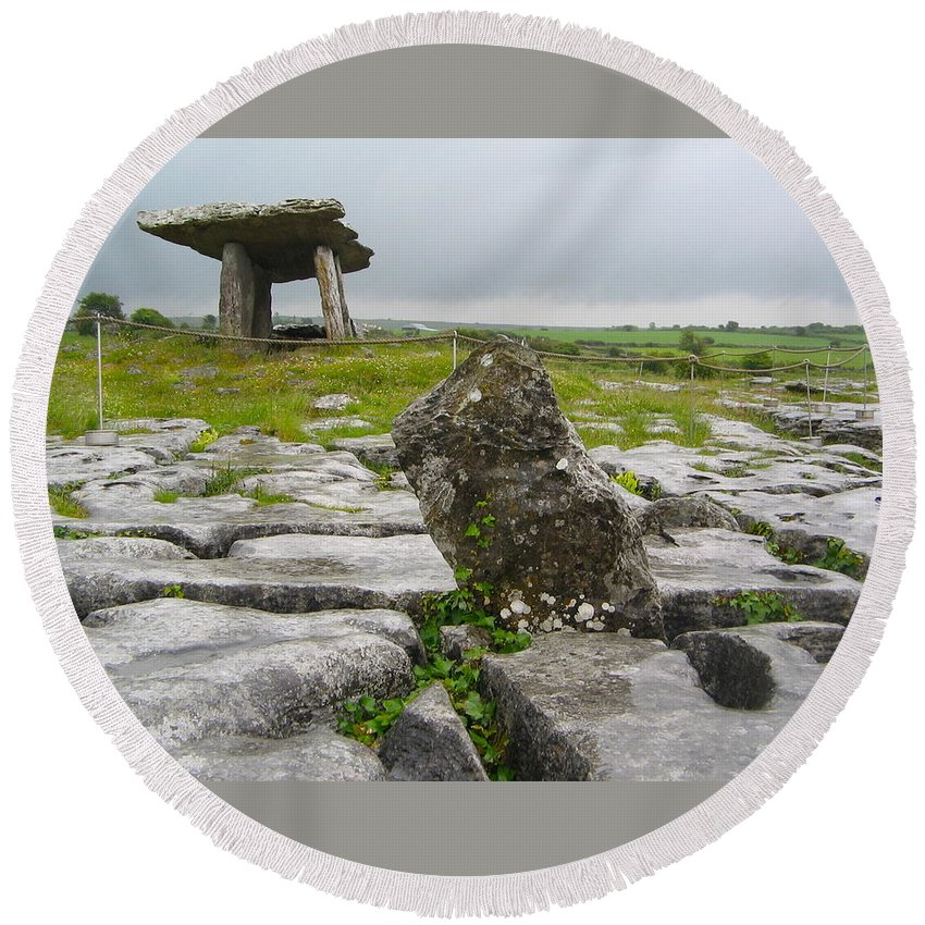 Poulnabrone Dolmen Round Beach Towel featuring the photograph Poulnabrone Dolmen by Denise Mazzocco
