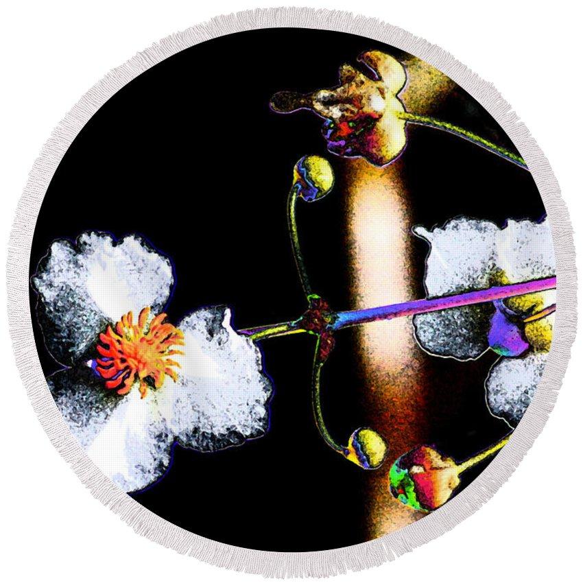 Powder Flower Round Beach Towel featuring the photograph Powder Flower by Kim Pate