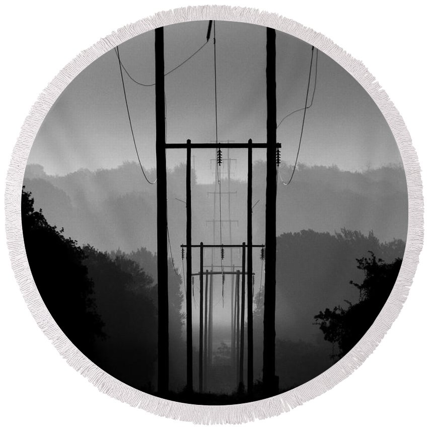 Power Lines Round Beach Towel featuring the photograph Power In The Morning Mist by Shannon Story