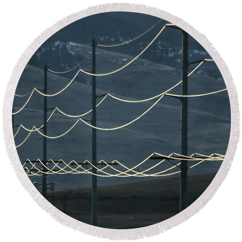 Power To The People Round Beach Towel featuring the photograph Power Lines by Albert Seger