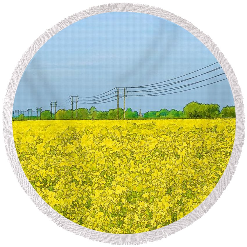 Innsworth Round Beach Towel featuring the photograph Power Lines In Innsworth by Ron Harpham