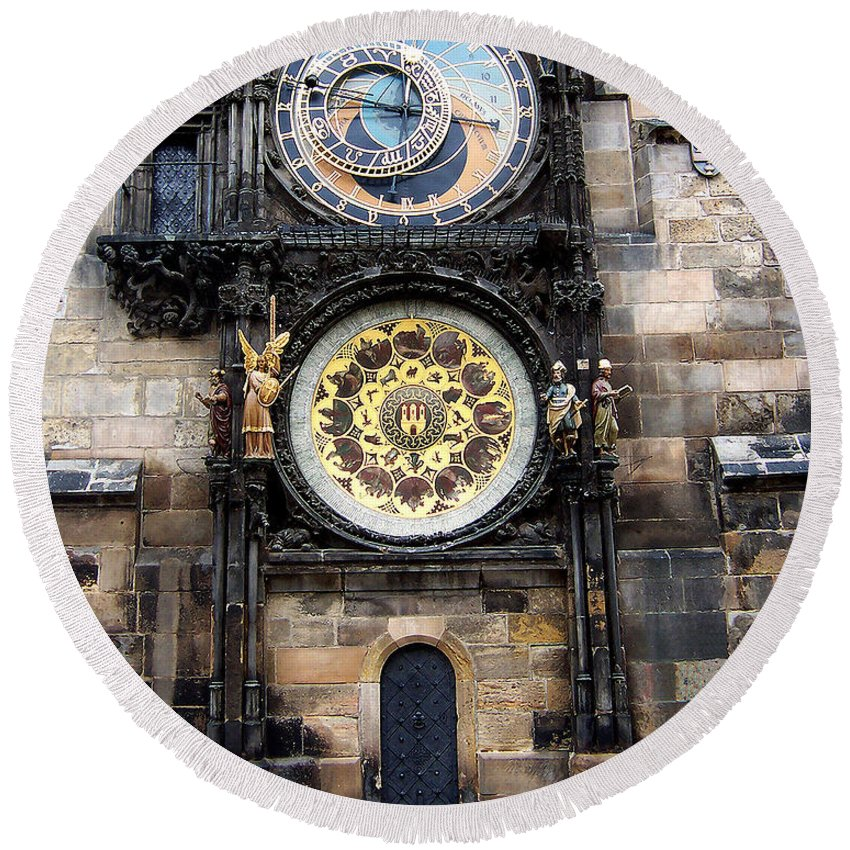Astrology Round Beach Towel featuring the photograph Prague Astronomical Clock by Tom Conway