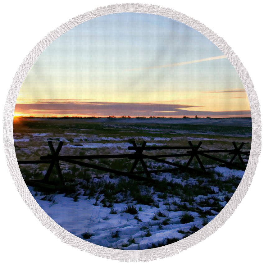 Sunrise Round Beach Towel featuring the photograph Prairie Sunrise by Jon Burch Photography