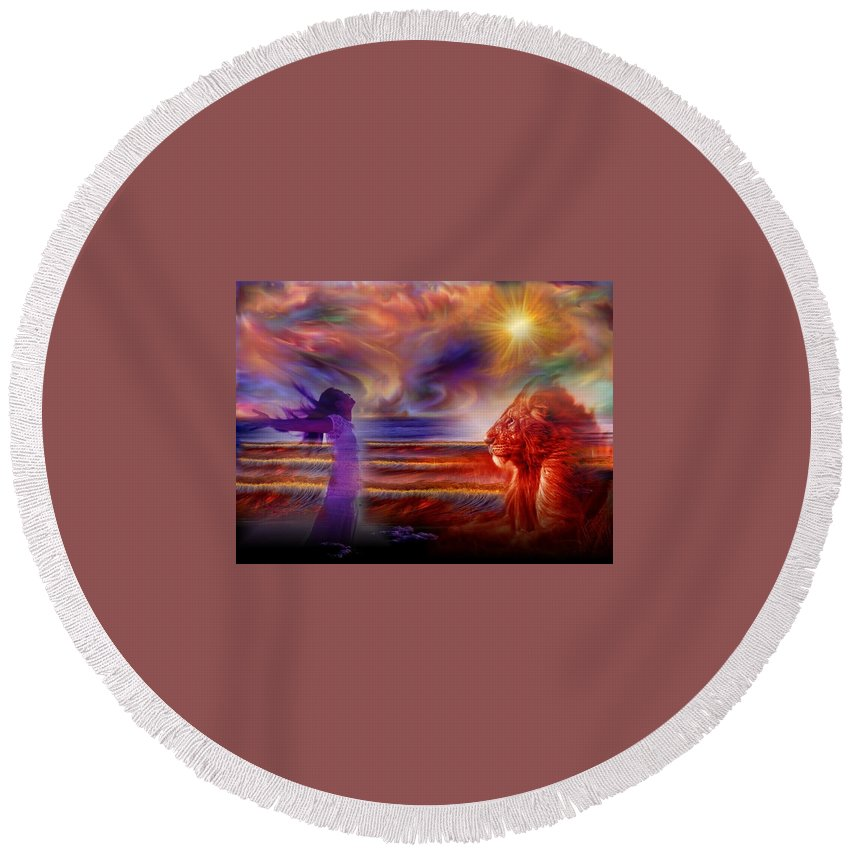 Praise Round Beach Towel featuring the digital art Praise The Lord by Jewell McChesney