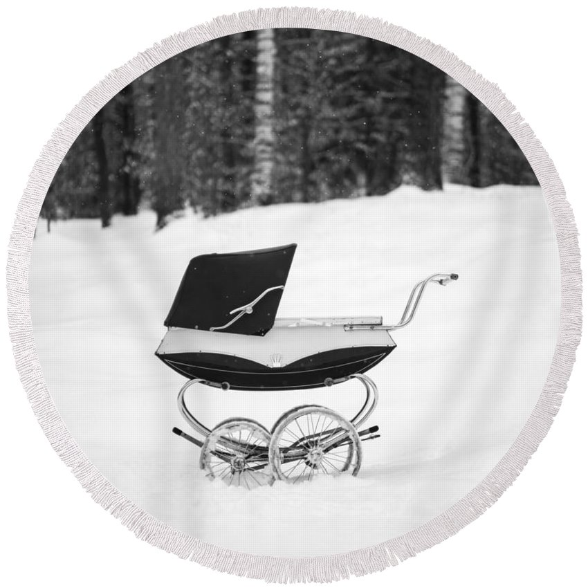 Etna Round Beach Towel featuring the photograph Pram In The Snow by Edward Fielding