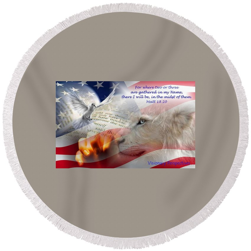 Prayer Round Beach Towel featuring the digital art Pray For Our Nation by Jewell McChesney