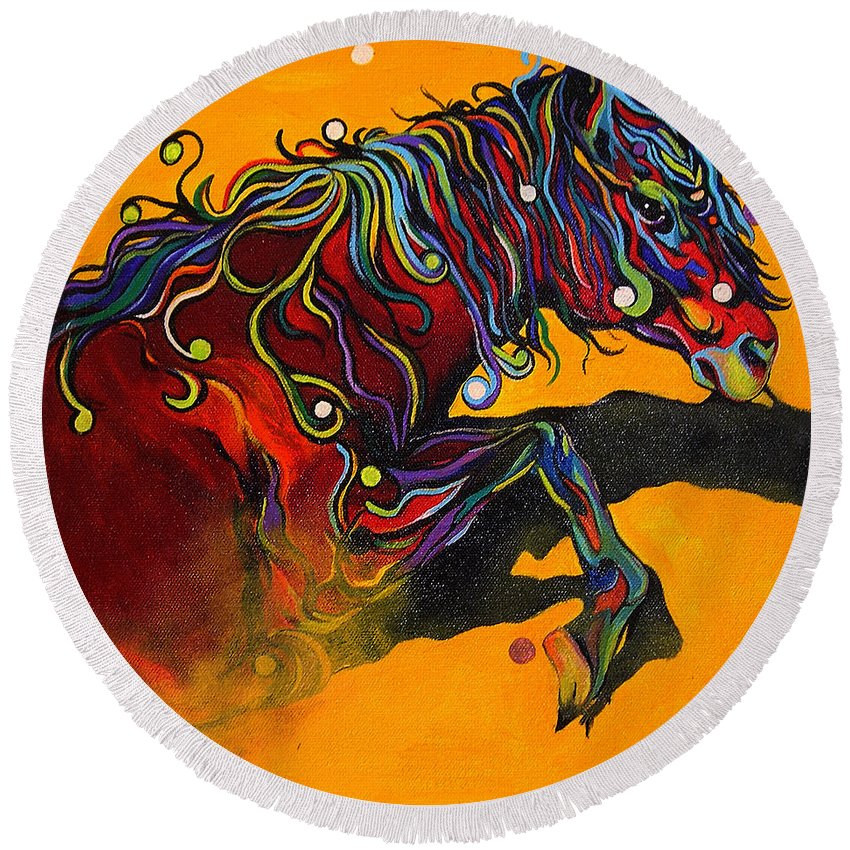 Horse Round Beach Towel featuring the painting Prelude To A Dance by Alison Caltrider