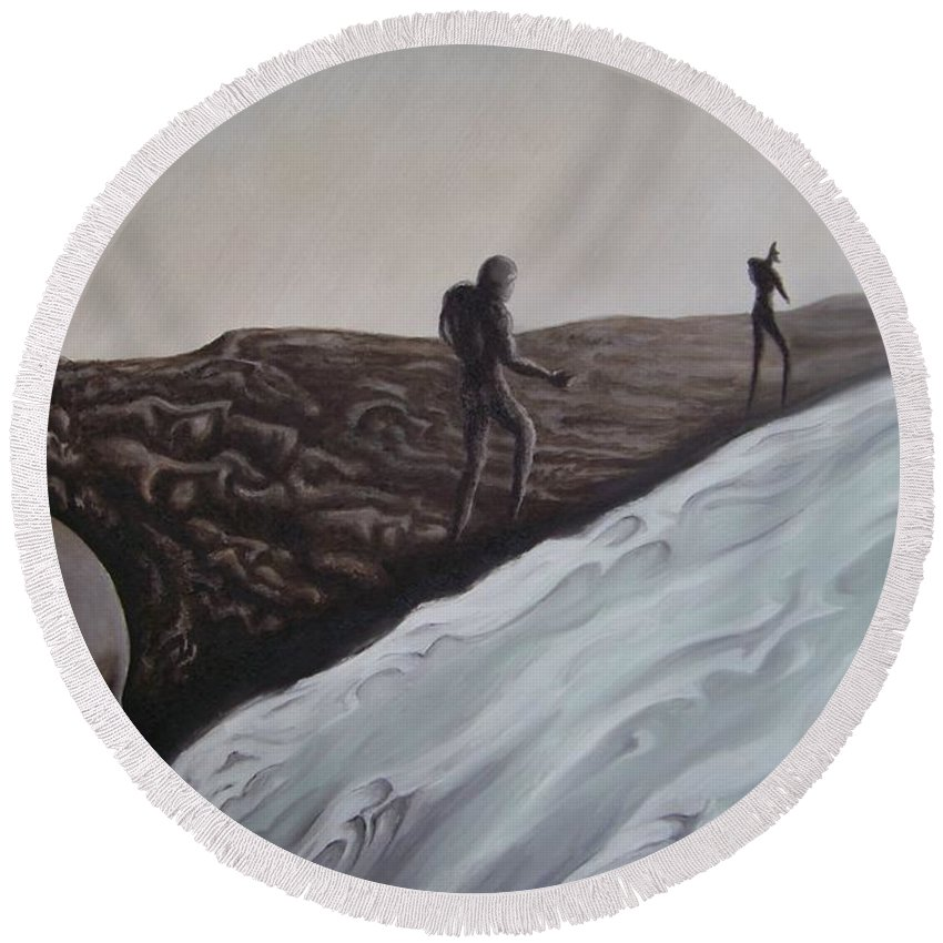 Tmad Round Beach Towel featuring the painting Premonition by Michael TMAD Finney