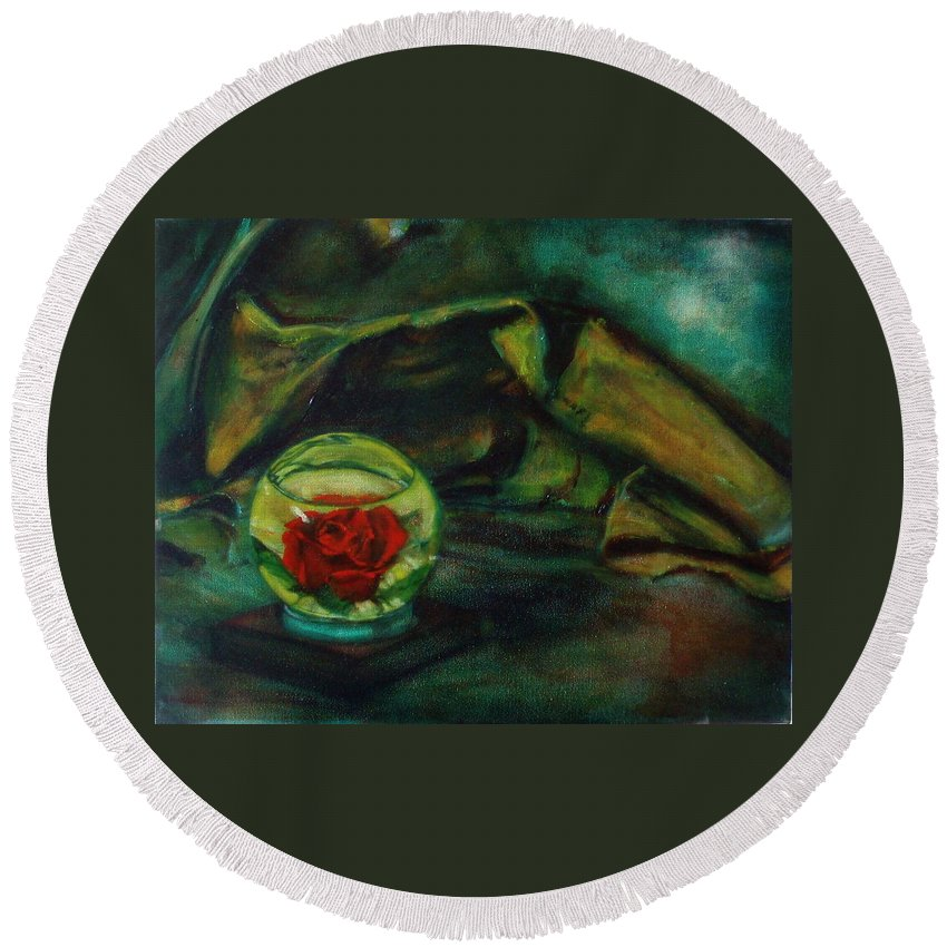 Still Life Round Beach Towel featuring the painting Preserved Rose . . Draped Canvas by Sean Connolly