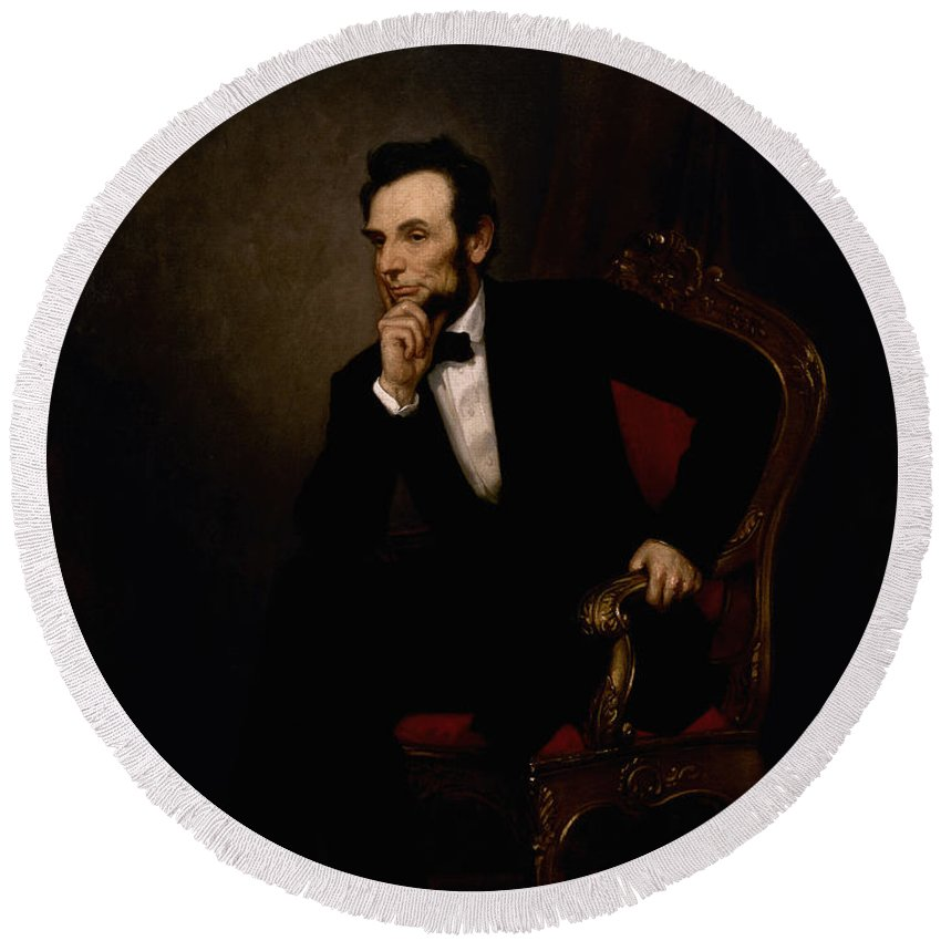 Abraham Lincoln Round Beach Towel featuring the painting President Lincoln by War Is Hell Store