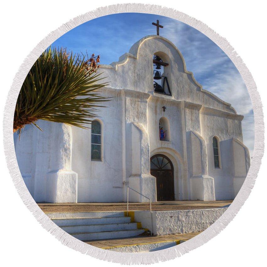 Presidio Chapel San Elizario Round Beach Towel featuring the photograph Presidio Chapel San Elizario Texas by Bob Christopher