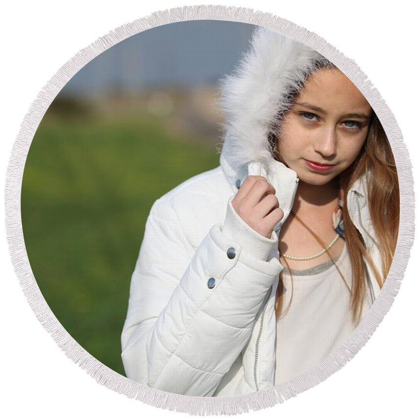 Beauty In Nature Round Beach Towel featuring the photograph Preteen In White Coat by Gal Eitan