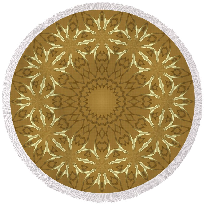 Pattern Round Beach Towel featuring the digital art Pretty Golden Flowers by Lena Photo Art